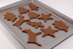 Festive shaped gingerbread cookies ready for the oven Stock Photography