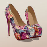 Festive shoes. Fashion shoes with a floral pattern Royalty Free Stock Photos