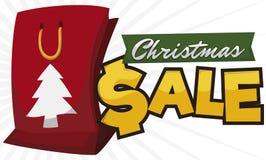 Festive Shopping Bag with Pine Silhouette for Christmas Sales Season, Vector Illustration vector illustration