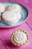 Festive shortcrust pastry mince pies. A sweet mince pie, a tradi Royalty Free Stock Photo