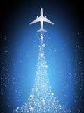 Festive silhouette aircraft fly over dark blue sky Stock Photo