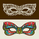 Festive silhouette and colored masks. Festive masks. Vector mask silhouette and colored mask in butterfly colors Royalty Free Stock Photo