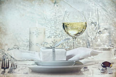 Festive silver dinner setting for the holidays Royalty Free Stock Photo