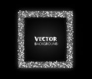 Festive silver sparkle background. Glitter border, circle frame. Vector dust, diamonds, snow on black. Royalty Free Stock Photo