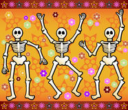 Festive Skeletons. Three festive skeletons jump and dance around - bordered by colorful stars and flowers - great for Halloween or Dia de los Muertos Stock Image