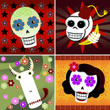 Festive Skulls. Four festive skulls on four different backgrounds of colorful stars and flowers - includes a man, woman, monkey and bull - great for Halloween or Stock Image