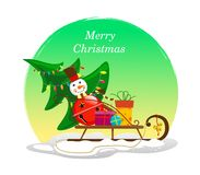 Festive sleigh with a Christmas tree, a snowman from a bell and gifts on the snow with a round background of yellow-green color. Vector royalty free illustration