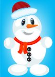 Festive snow person. On turn blue background Stock Photos