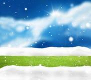 Festive snow winter blue sky scenery background Stock Image