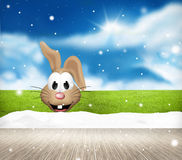 Festive snow winter easter scenery background. Graphic illustration Stock Photography