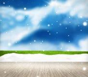 Festive snow winter scenery background. Graphic illustration Stock Photos