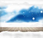 Festive snow winter scenery background. Graphic illustration Stock Photo