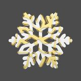 Festive snowflake in gold and white style isolated on gray background. Christmas element in golden abstract soft lines. 3d render. Bright winter snow flake Royalty Free Stock Images