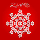 Festive snowflake on red background Royalty Free Stock Photos