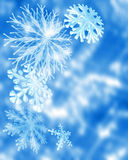 Festive snowflakes. A decorative illustration of 3d snowflakes with space left for copy Stock Photos