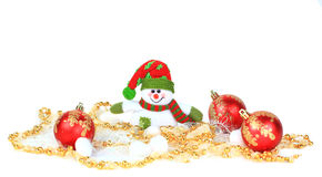 Festive snowman with. Christmas light background Stock Photos