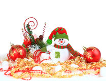 Festive snowman with. Christmas light background Royalty Free Stock Photo