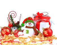 Festive snowman with. Christmas light background Royalty Free Stock Photography
