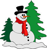 Festive snowman. Illustration of festive traditional snowman with trees in background, isolated over white Stock Photos