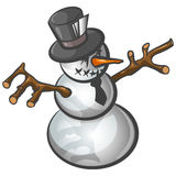 Festive Snowman illustration. Illustration of traditional festive snowman, isolated on white background Royalty Free Stock Image