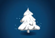 Festive snowy tree vector illustration