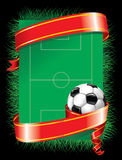 Festive soccer background (). Football background with festive red ribbon Stock Image