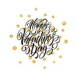 Festive sparkle layout template design Glitter Lettering Happy Valentine day card. Vector illustration Royalty Free Stock Images