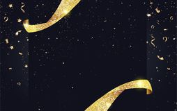 Festive sparkling background with ribbons, gold sparkles and con. Fetti. Vector illustration Royalty Free Stock Photography