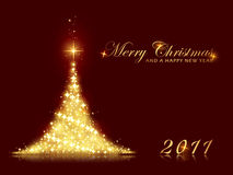 Festive sparkling Christmas tree background. Merry Christmas and a Happy New Year card with shining Christmas tree made out of stars. Perfect for any Christmas Stock Photos