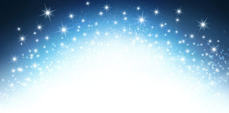 Festive sparkling letterhead. Shiny blue background in explosive starlight Royalty Free Stock Image