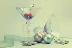Festive spirit blue martini cocktai glasses Royalty Free Stock Images