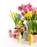 Festive spring flowers and eggs for Easter royalty free stock photo