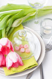 Festive spring table setting Royalty Free Stock Photo