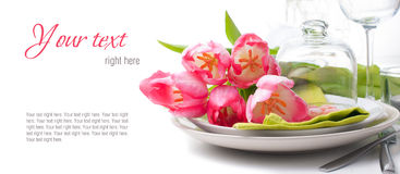 Festive spring table setting, ready template Royalty Free Stock Image