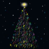 Festive spruce from stars Stock Image