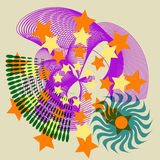 Festive Star Abstract Tile. Stars are featured in this modern collage of abstract symbols with a festive, grunge look, all in vector layers (JPG and Vector Stock Illustration
