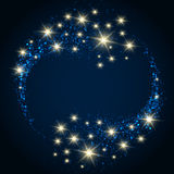 Festive Star Background. Abstract background with bubbles and shining stars on dark blue background and place for text vector illustration