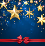 Festive starry background. Festive blue starry background with bow. Vector illustration Royalty Free Stock Photography