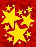 Festive Stars Background Red. A background pattern featuring gold stars set on red background Stock Photography