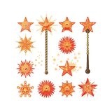 Festive Stars. Festive set with decorative shapes of stars or magic wands Stock Photography