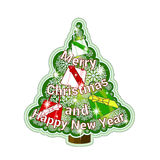 Festive sticker with Christmas tree and openwork snowflakes and presents. Greeting inscription in the form of Christmas tree garla Royalty Free Stock Photography