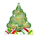 Festive sticker with Christmas tree and openwork snowflakes and presents under it. Greeting inscription in the form of Christmas t. Ree garlands. Cartoon style Royalty Free Stock Image