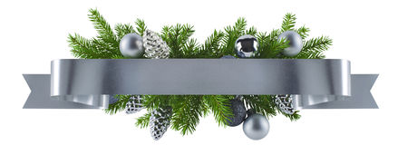 Festive straight ribbon silver decoration for Christmas royalty free stock photos