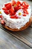 Festive strawberry cake Stock Images