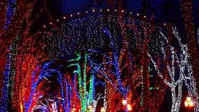 Festive Street Illuminated Garlands stock video