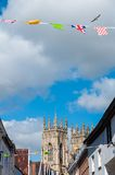 Festive Street view with York Minster towers in background in the historical city of York Royalty Free Stock Image
