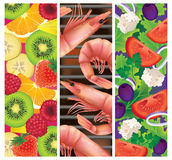 Festive summer foods!. Vector illustration of three summer foods: fresh fruit salad, greek salad and a seafood barbeque/BBQ Stock Images