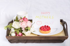 Festive sweet breakfast for mothers day on a tray Royalty Free Stock Images