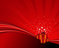 Festive swoosh. Festive gifts on red abstract swoosh background. Vector illustration Royalty Free Stock Images