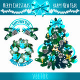 Festive symbols, decoration of the Christmas tree. In blue Royalty Free Stock Photography